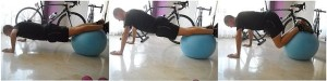 push up exercise with an exercise ball